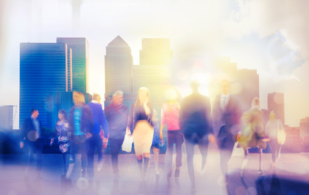 Walking people blur background, London Foto de archivo