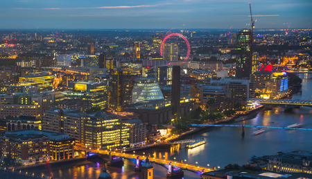 westminster city: London at sunset. City background. Night lights Westminster side Stock Photo