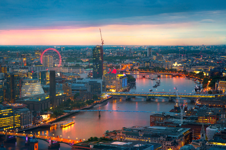 aerial view city: London at sunset, panoramic view Westminster side of City Stock Photo