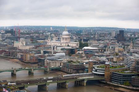 st pauls: London panorama. St. Pauls cathedral against of raining dark sky Stock Photo