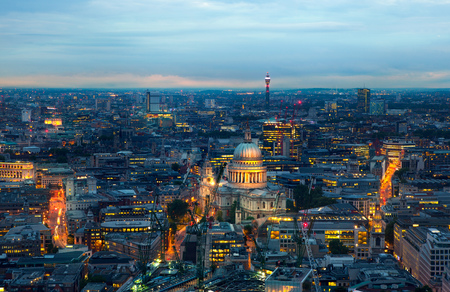 city light: London at sunset, panoramic view Westminster side of City Stock Photo