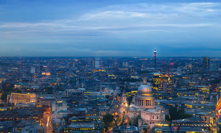 sunset city: London at sunset, panoramic view Stock Photo