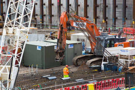 site: LONDON, UK - SEPTEMBER 17, 2015: Crane and building construction site, Holborn aria Editorial
