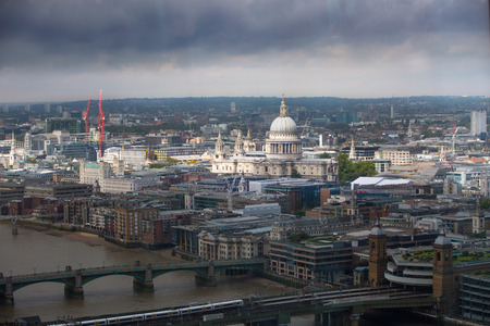 dealings: London panorama. St. Pauls cathedral against of raining dark sky Stock Photo