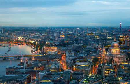 aerial view city: London at sunset, panoramic view Westminster side on the City