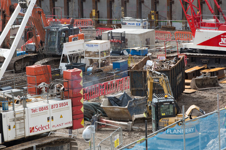 construction site: LONDON, UK - SEPTEMBER 17, 2015: Crane and building construction site, Holborn aria Editorial