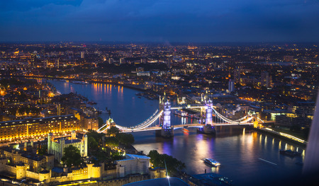 aerial view city: London, night panorama. Tower bridge Stock Photo