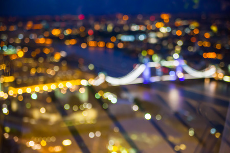 city panorama: London, night lights blur