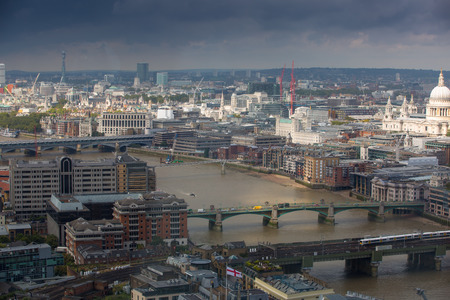 st pauls: London panorama with River Thames and London bridges and St. Pauls cathedral Stock Photo