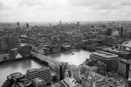 city of westminster: LONDON, UK - APRIL 22, 2015:  City of London aerial view, office buildings and streets. London panorama form 32 floor of Walkie-Talkie building Editorial