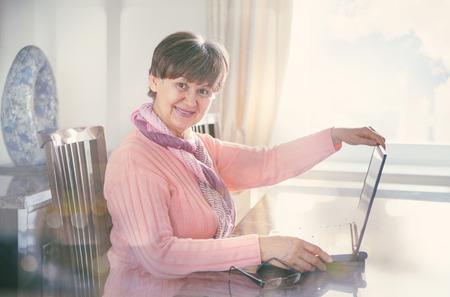 eldercare: Elderly good looking woman working on laptop. Portrait in domestic interior