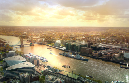 panoramic view: LONDON, UK - APRIL 22, 2015:  Thames and Tower bridge. London panorama form 32 floor of Walkie-Talkie building Editorial