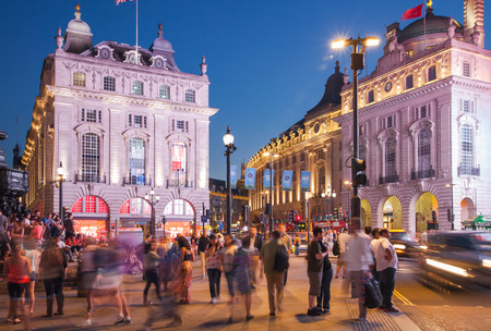 bargain hunting: LONDON, UK - AUGUST 22, 2015: Piccadilly Circus in night. Famous place for romantic dates. Square was built in 1819 to join of Regent Street Editorial