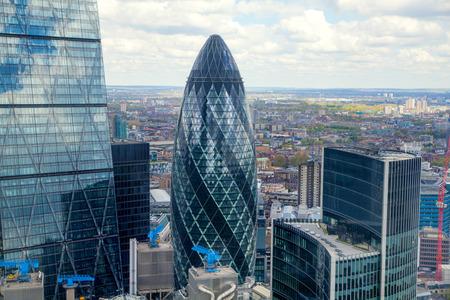 LONDON, UK - APRIL 22, 2015:  City of London aerial view, Gherking Editorial
