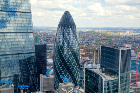 gherkin: LONDON, UK - APRIL 22, 2015:  City of London aerial view, Gherking Editorial