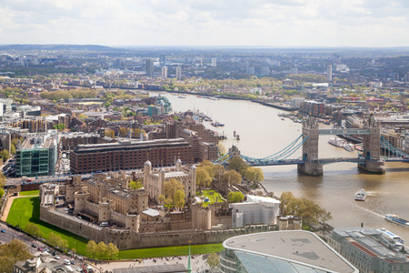 london skyline: LONDON, UK - APRIL 22, 2015:  City of London aerial view, Tower bridge and and River Thames. London panorama form 32 floor of Walkie-Talkie building