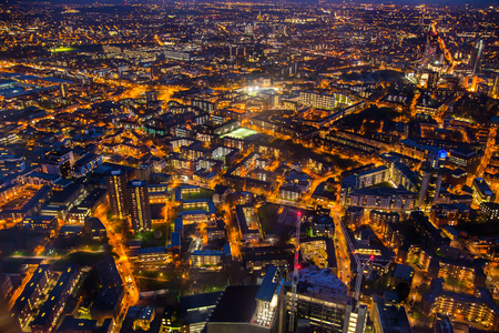 london night: LONDON, UK - APRIL 15, 2015: London night view. Aerial view at streets and buildings