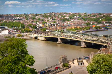 kent: ROCHESTER, UK - MAY 16, 2015: Landscape around of Rochester city include beautiful bend of river Kent and city bridge Editorial