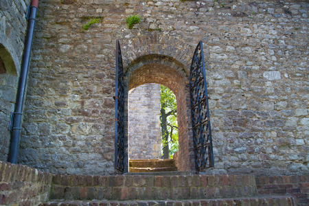 garden gate: ROCHESTER, UK - MAY 16, 2015: Rochester Castle 12th-century. Castle and ruins of fortifications. Kent, South East England.
