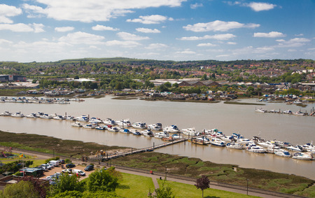 city park boat house: ROCHESTER, UK - MAY 16, 2015: Landscape around of Rochester city include river Kent and yacht club with lots of speed boats and yachts