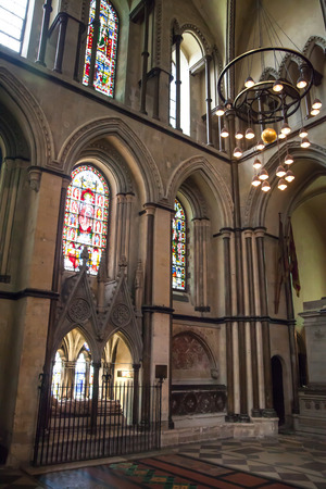 high altar: ROCHESTER, UK - MAY 16, 2015: Rochester Cathedral is Englands second oldest, having been founded in 604AD. The present building dates back to 1080.