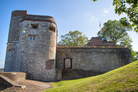 west bank: ROCHESTER, UK - MAY 16, 2015: Upnor Castle is an Elizabethan artillery fort located on the west bank of the River Medway in Kent. Main entrance