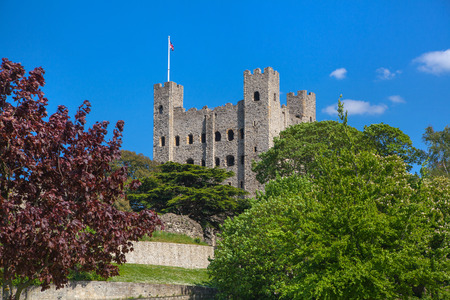 turret: ROCHESTER, UK - MAY 16, 2015: Rochester Castle 12th-century. Turret with walls. Rochester, Kent, South East England.
