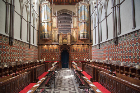 high altar: ROCHESTER, UK - MAY 16, 2015: Interior of Rochester Cathedral the Englands second oldest, having been founded in 604AD. The present building dates back to 1080. Editorial