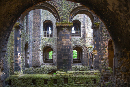 12th century: ROCHESTER, UK - MAY 16, 2015: Rochester Castle 12th-century. Inside view of castles ruined palace walls and fortifications Editorial