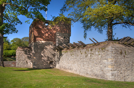 manor: ROCHESTER, UK - MAY 16, 2015: Upnor Castle is an Elizabethan artillery fort located on the west bank of the River Medway in Kent. Main entrance