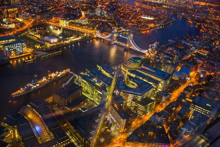 april 15: LONDON, UK - APRIL 15, 2015: London night view. Aerial view