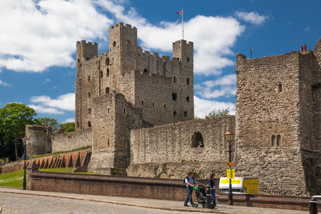 12th century: ROCHESTER, UK - MAY 16, 2015: Rochester Castle 12th-century. Castle and ruins of fortifications. Kent, South East England.