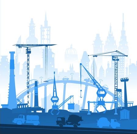 abandoned warehouse: Building construction city in the city. Illustration with roads and transport units Illustration