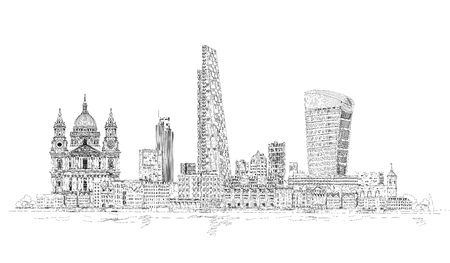 gherkin building: London modern and old, Sketch illustration includes Walkie Talkie building, tower 42 and St. Pauls cathedral