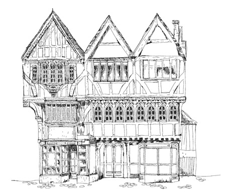 Medieval Tudor age long house in Oxford, sketch collection. Medieval Tudor age long house Stock Illustratie
