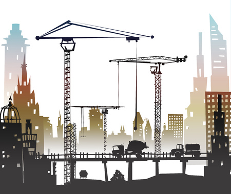 metallurgy: Building construction city in the city. Illustration with roads and transport units Illustration