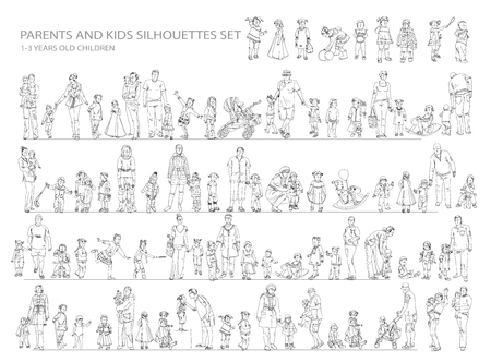 sitting people: Parent and child collection of silhouettes. Sketch collection