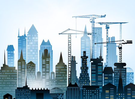 cement chimney: Building construction city in the city. Illustration with roads and transport units Illustration