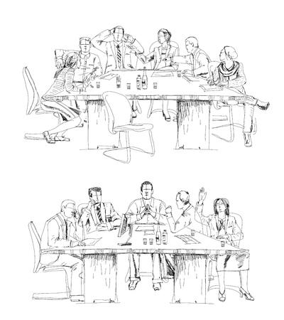 Silhouettes de gens d'affaires prospères de travail sur la réunion. Croquis Vecteurs