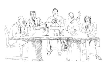 bowing: Silhouettes of successful business people working on meeting. Sketch
