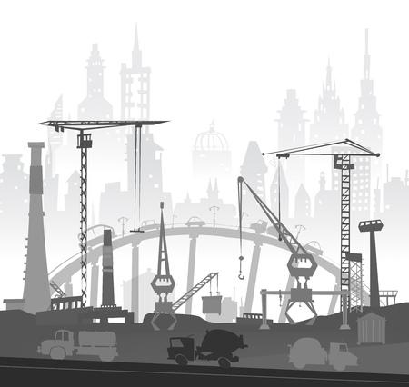cemento: La construcción de la ciudad la construcción en la ciudad. Ilustración con las carreteras y las unidades de transporte