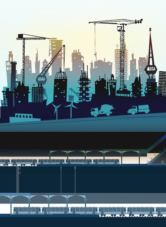 abandoned warehouse: City and underground illustration with platform, station and carriages Illustration