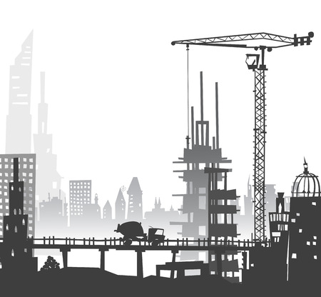 terminal: City and building construction site with crane
