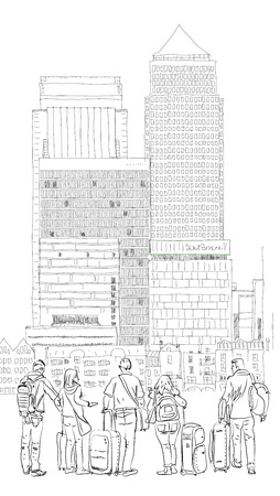 London, Canary Wharf. Business people wailing in the square. Sketch collection