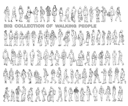 Silhouettes of walking people, carrying bags, talking on the phone etc. Sketch collection