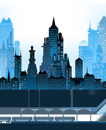 underground: City and underground illustration with platform, station and carriages Illustration