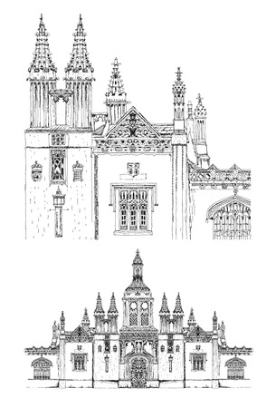 main entrance: Kings college main entrance gate, Cambridge. Sketch collection