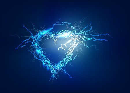 lighting effect: Heart, Abstract background made of Electric lighting effect