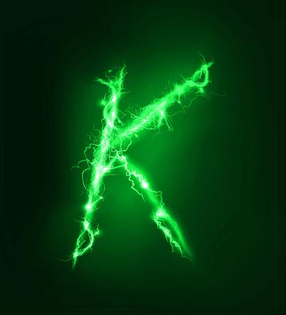 thunder storm: Alphabet made of yellow electric lighting, thunder storm effect. ABC