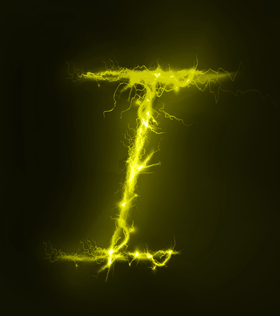 electric storm: Alphabet made of yellow electric lighting, thunder storm effect. ABC